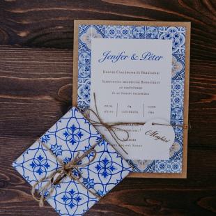 Portugál azulejo mintás tematikus esküvő a Rosinante fogadóban